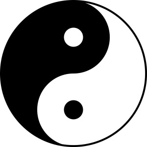 Two swirling opposites, and one whole unbroken circle. Which do you see first?