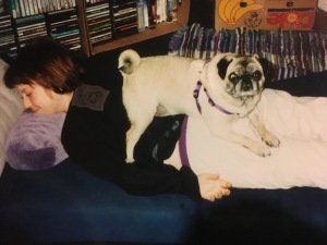 At our Cayucos, California home in 2001. Aubray with Eloise, who we adopted from a pug rescue service (she was eventually re-rescued from us in Massachusetts and found a wonderful permanent home).