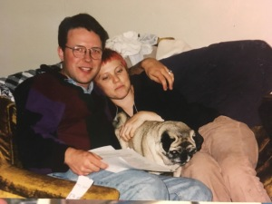 Sometime in 2001, probably taken by Aubray's sister at her place in Sacramento.